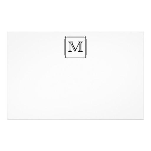 Your Letter. Custom Monogram. Black and White Stationery Design