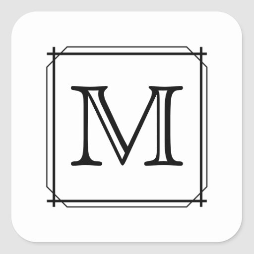 Your Letter. Custom Monogram. Black and White Stickers