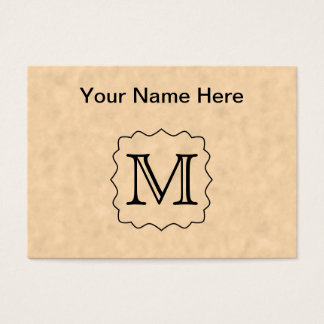 Your Letter. Custom Monogram. Black & Parchment Business Card