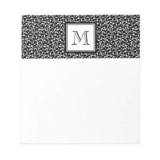Your Letter. Custom Monogram. Black White Swirls Notepad