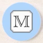 Your Letter. Custom Monogram. Blue Black White. Beverage Coaster