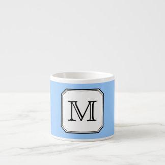 Your Letter. Custom Monogram. Blue Black White. Espresso Mug