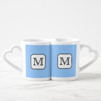 Your Letter. Custom Monogram. Blue Black White. Lovers Mugs