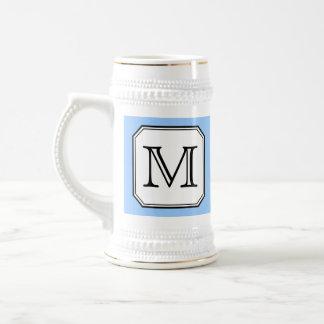 Your Letter. Custom Monogram. Blue Black White. 18 Oz Beer Stein