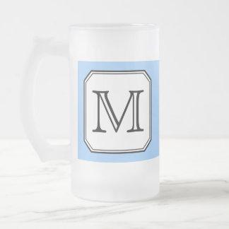 Your Letter. Custom Monogram. Blue Black White. 16 Oz Frosted Glass Beer Mug