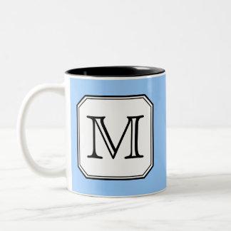 Your Letter. Custom Monogram. Blue Black White. Two-Tone Mug