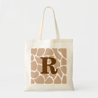 Your Letter. Custom Monogram Giraffe Print Design Budget Tote Bag