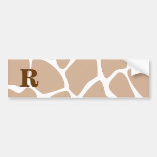 Your Letter. Custom Monogram Giraffe Print Design Bumper Sticker