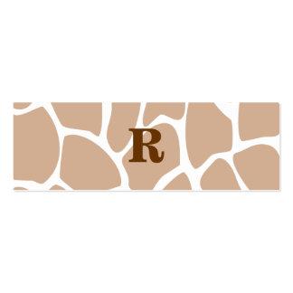 Your Letter. Custom Monogram Giraffe Print Design Business Card
