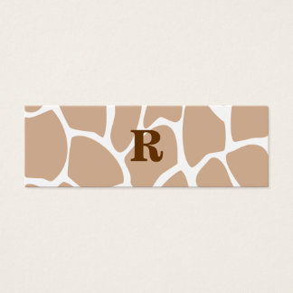Your Letter. Custom Monogram Giraffe Print Design Mini Business Card
