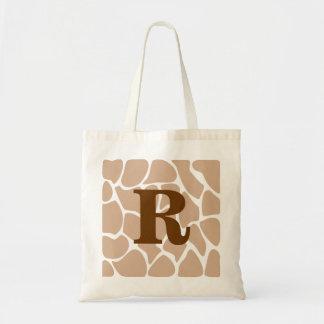 Your Letter. Custom Monogram Giraffe Print Design Budget Tote Bag