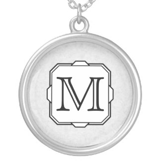 Your Letter. Custom Monogram. Gray, Black & White Silver Plated Necklace