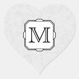Your Letter. Custom Monogram. Gray, Black & White Heart Sticker