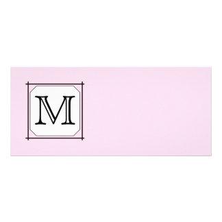 Your Letter. Custom Monogram. Pink Black White Custom Rack Card