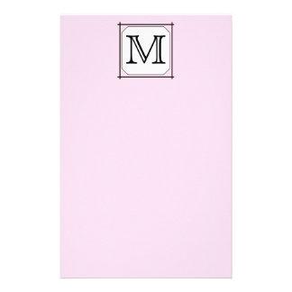Your Letter. Custom Monogram. Pink Black White Stationery Paper