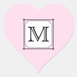 Your Letter. Custom Monogram. Pink Black White Heart Stickers