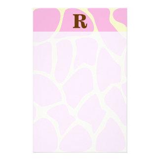 Your Letter Custom Monogram. Pink Giraffe Print. Customised Stationery