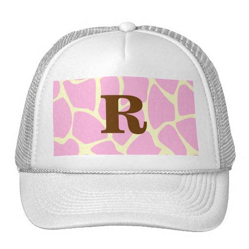 Your Letter Custom Monogram. Pink Giraffe Print. Trucker Hat
