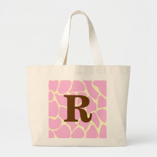 Your Letter Custom Monogram. Pink Giraffe Print. Jumbo Tote Bag