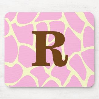 Your Letter Custom Monogram. Pink Giraffe Print. Mouse Pad