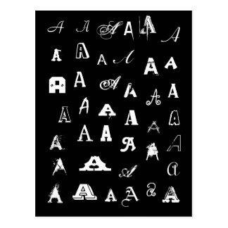 Your Letter. Custom Monograms. Black and white. Postcard