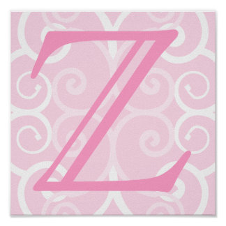 Your Letter. Custom Pink Swirl Monogram. Poster