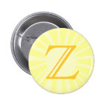 Your Letter. Custom Yellow Sun Ray Monogram. Pinback Button