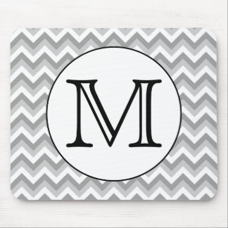 Your Letter. Gray Zigzag Pattern Monogram. Mouse Pad