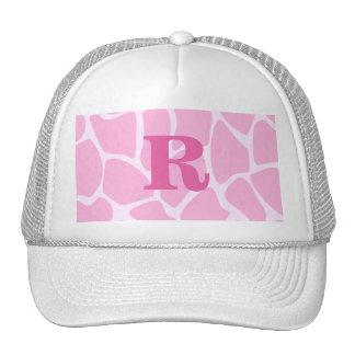 Your Letter Monogram. Custom. Pink Giraffe Pattern Mesh Hat