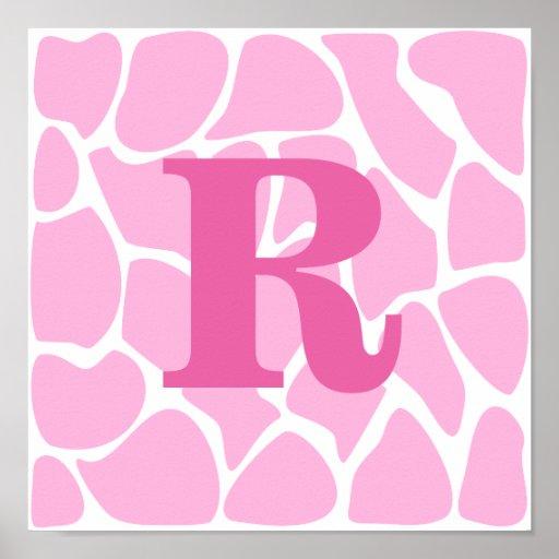 Your Letter Monogram. Custom. Pink Giraffe Pattern Posters