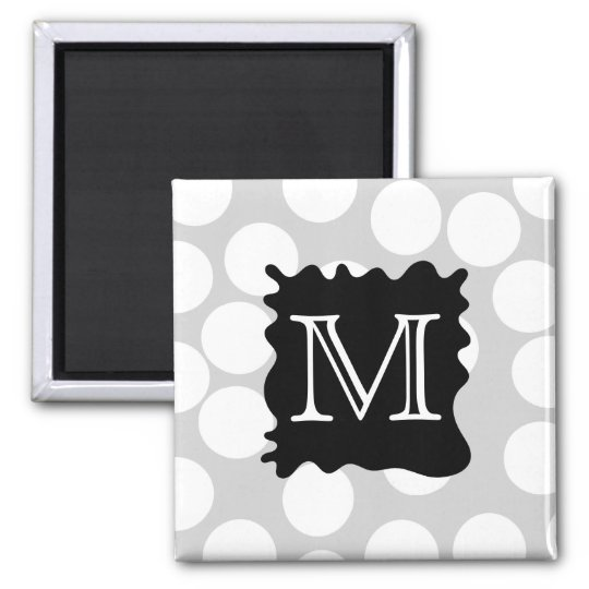 Your Letter, Monogram. Dots with Black Splat. Magnet
