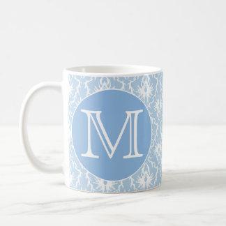 Your Letter, Monogram. Pale Blue Damask Pattern. Basic White Mug