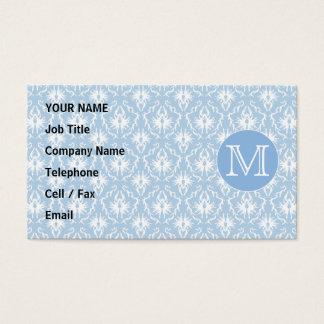 Your Letter, Monogram. Pale Blue Damask Pattern. Business Card