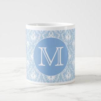 Your Letter, Monogram. Pale Blue Damask Pattern. Jumbo Mug