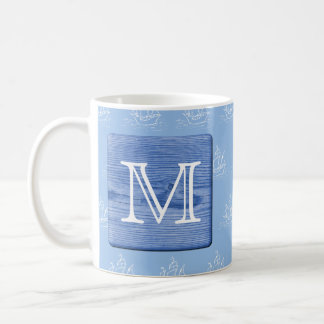 Your Letter. Picture of Wood in Blue. Nautical. Coffee Mug