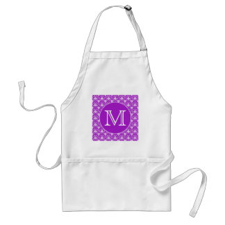 Your Letter. Purple and White Damask Pattern. Standard Apron