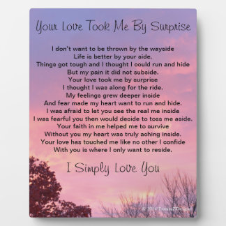 Your Love Took Me By Surprise Pink Sunset EASEL Plaque