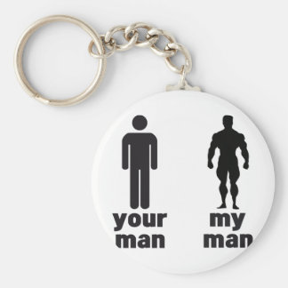 Your man vs my man basic round button key ring
