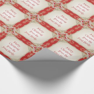 Your Message - Fancy Gold Filigree Red and White Wrapping Paper