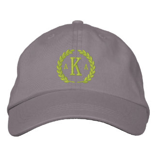 Your Monogram 3 Letters and Laurels Embroidery Embroidered Baseball Cap