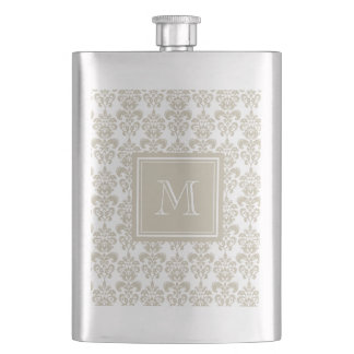 Your Monogram, Beige Damask Pattern 2 Hip Flask