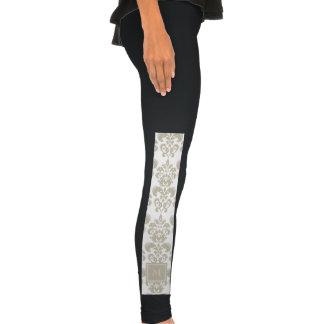 Your Monogram, Beige Damask Pattern 2 Legging Tights