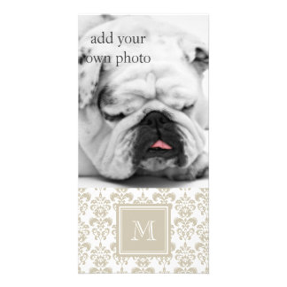 Your Monogram, Beige Damask Pattern 2 Photo Greeting Card