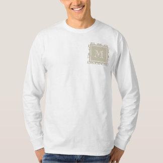 Your Monogram, Beige Damask Pattern 2 T-Shirt