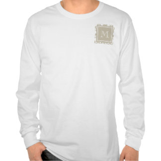 Your Monogram, Beige Damask Pattern 2 T-shirts