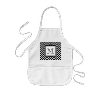 YOUR MONOGRAM, BLACK CHEVRON KIDS APRON