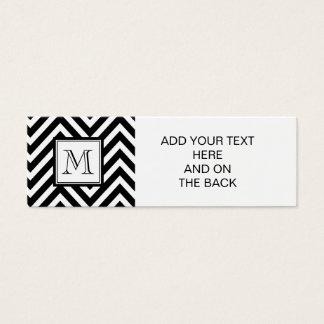 YOUR MONOGRAM, BLACK CHEVRON MINI BUSINESS CARD