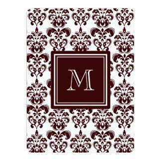 Your Monogram, Brown Damask Pattern 2 Custom Invite