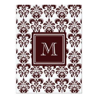 "Your Monogram, Brown Damask Pattern 2 6.5"" X 8.75"" Invitation Card"