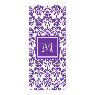 Your Monogram, Dark Purple Damask Pattern 2 Announcement